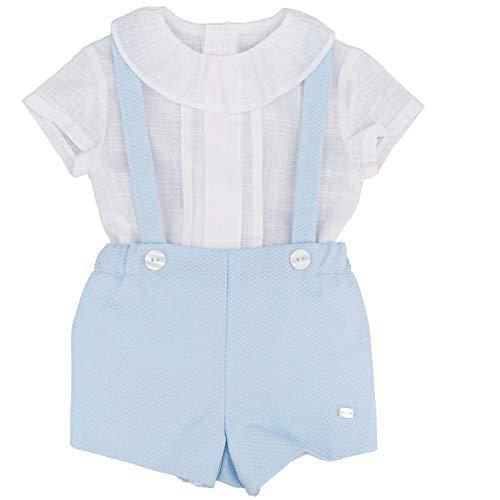 DEL SUR Conjunto con camisa y pantalón corto con tirantes celestes para recién nacido 0030 azul celeste 9 Meses