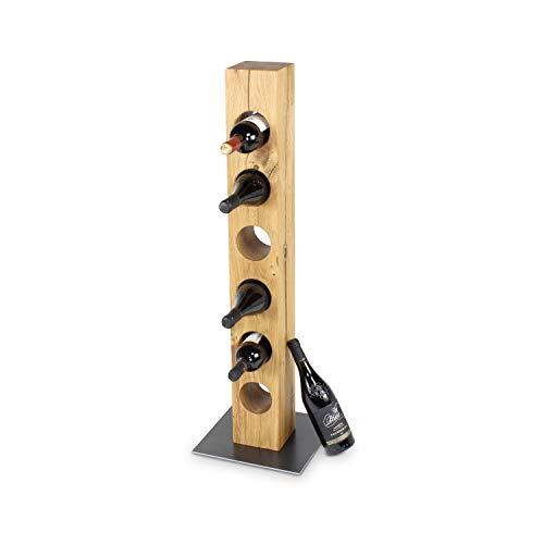 GREENHAUS Weinständer Eiche Metall Sockel 98x13x13 cm 6 Flaschen Massivholz und Handarbeit aus Deutschland Weinregal Holz