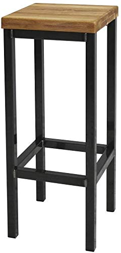 1 Original-BestLoft® Barhocker New York Handmade Industriedesign Loft Stahl Holz Eiche massiv (Hell Natur, 78cm)