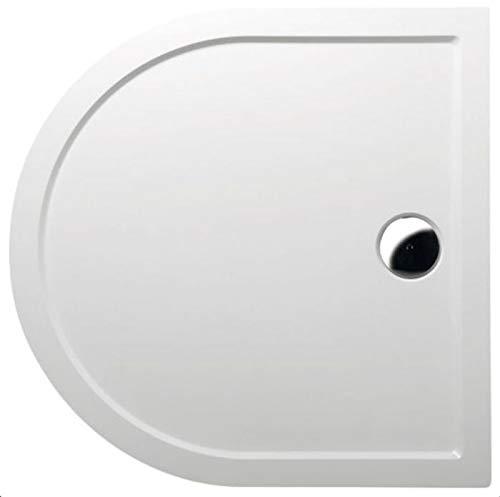 Mineralguss Duschwanne Halbkreis 90x90 R45 - begehbare Dusche 900x900x40 mm, Weiß