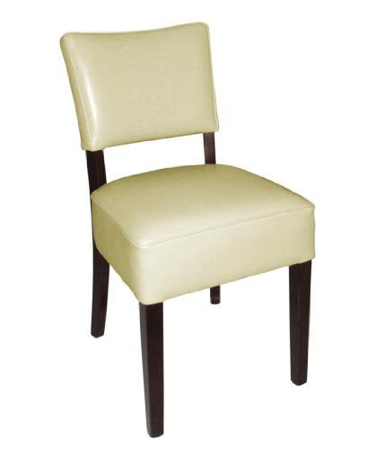 Bolero Gf958 Profondeur Assise simili cuir Chaise, Blanc (lot de 2)
