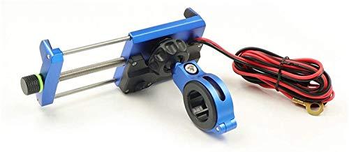 Soporte De Teléfono Móvil De La Motocicleta Titular del Teléfono De La Motocicleta con El Cargador De Alimentación USB para 3,5-7'Equipo Motorbike Mountain Bike Titter Accesorios (Color : Blue)