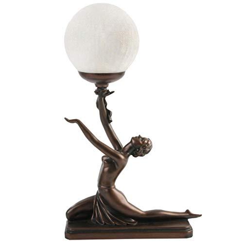 Art Deco Bronze Lighting Nora Kneeling Lamp Figure by Julianna