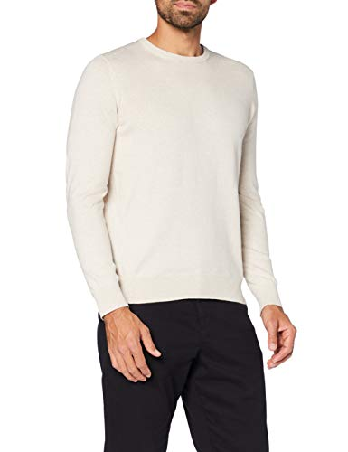 Amazon-Marke: MERAKI Baumwoll-Pullover Herren mit Rundhals, Beige (Linen), M, Label: M