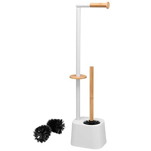 bremermann - Scopino per WC 3 in 1, con supporto per rullo, scopino per WC e supporto per rotolo di ricambio, in acciaio inox, con 2 testine di ricambio