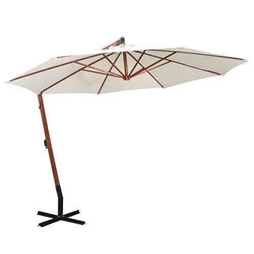 tidyard Sonnenschirm Ampelschirm Gartenschirm Freiarm Sonnenschutz Schirm Holzmast mit Kurbelmechanismus Stahl-Fu?kreuz 350 cm Wei?