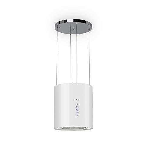 Klarstein Barett - Campana extractora aislada, Ø 35cm, Potencia de 190 W, Ventilación máxima de 590 m³/h, 3 niveles de potencia, CEE B, Iluminación LED, Acero inoxidable cepillado, Blanco
