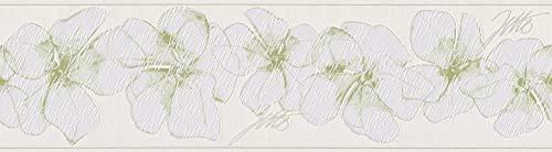 Livingwalls Bordüre Jette Joop Borte mit Blumen floral 5,00 m x 0,17 m grün weiß Made in Germany 959912 95991-2