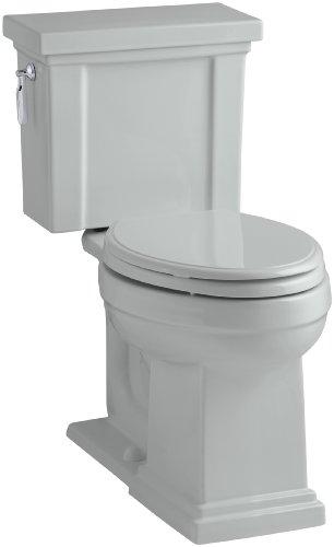 Kohler Tresham Comfort Altura de dos piezas alargada 1.28 GPF WC inodoro con Tecnología aquapiston Flush y Palanca de mano Izquierda, 3.25, Gris (Ice Gray)