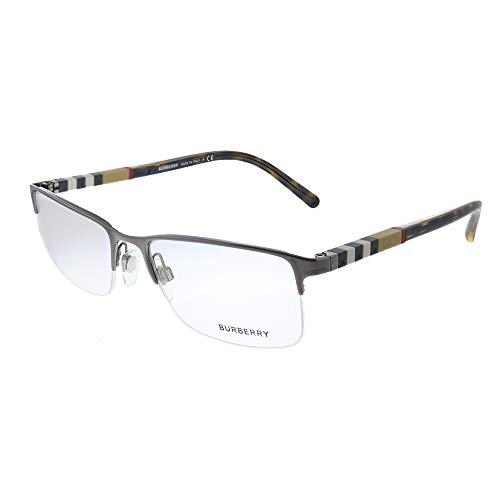 Burberry BE 1282 1008 Brushed Gunmetal Metal Semi-Rimless Eyeglasses 55mm