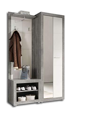 AVANTI TRENDSTORE - Solaika - Guardaroba Completo in Legno Laminato di Grigio Cemento d'imitazione e Bianco Lucido. Dimensioni Lap 120x194x37 cm