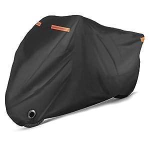 Rovtop Funda para Moto Cubierta-Cubierta de la Moto, Lona Impermeable de Doble Costura, Ojo de Cerradura Mejorado, Revestimiento de PU Contra los Rayos UV, Agua, Polvo, Viento y Nieve
