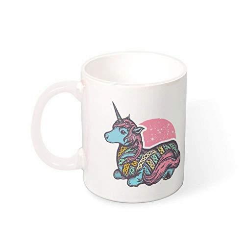 NC83 11 Oz Einhorn Wasser Müsli Mug mit Griff Glatte Keramik Fun Becher - Herren Geschenke, Geeignet für Wohnheim verwenden White 330ml