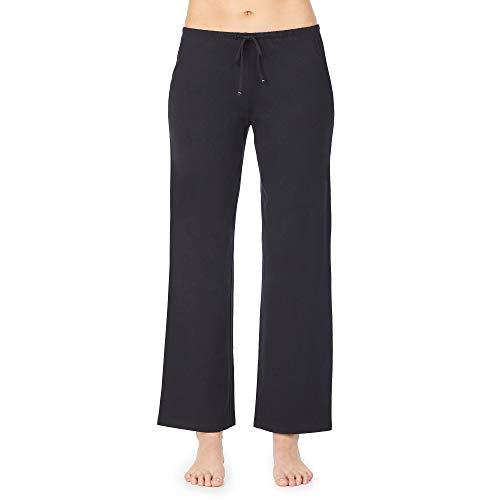 Nautica Women's Sleep Pants, 100% Cotton Jersey, Black, L