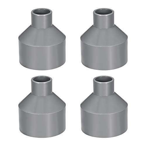 sourcing map Acoplamiento reductor de PVC de cubo por cubo de 75mm x 32mm Adaptador de tubería DWV Gris 4uds