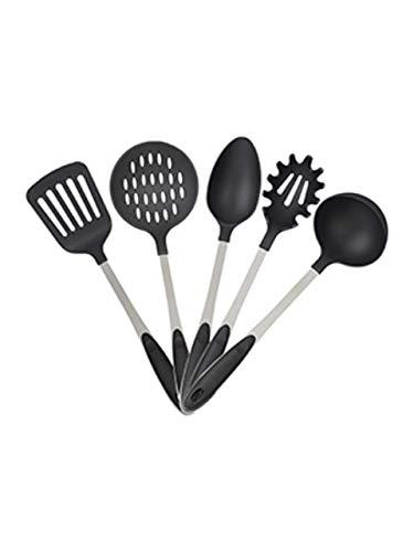 Relaxdays Negro Juego de Cinco Utensilios de Cocina, Cucharón, Cuchara de Servir, Tenedor de Espaguetis, Espátula, Espumadera, Plata, Acero Inoxidable, 5,5 x 8 x 33 cm