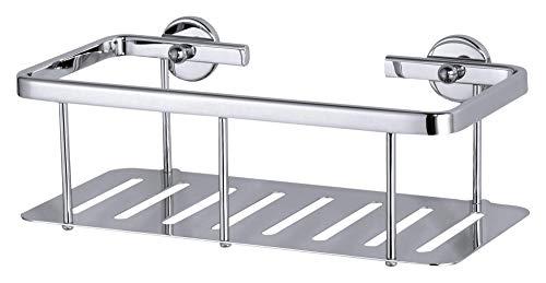 tesa ALUXX Duschablage - Einstöckiges Duschregal aus verchromtem Aluminium - Rostfrei - Extra tiefer Boden - Inklusive Klebelösung ohne Bohren