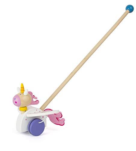 Small Foot 11042 Schiebespielzeug Einhorn Luna aus Holz, FSC 100%-Zertifiziert Spielzeug, Mehrfarbig