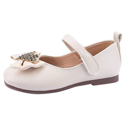 FNKDOR Schuhe Baby Und Mädchen Herbst Bow Prinzessin Schuhe Licht Weich rutschfest Mary Jane Ballettschuhe Mit Klettverschluss Beige 15-16 Monate