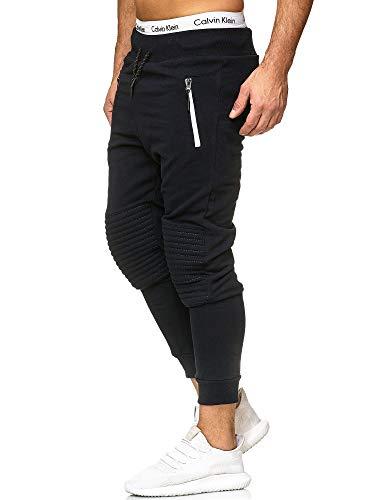 Code47 Herren Stepp Jogginghose Sporthose Fitness Sport Jogging Hose Fitness Hose Navyblau/Weiß S