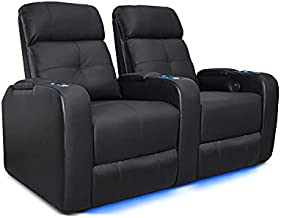 Valencia Verona Home Theater Seating   Premium Top Grain Italian 9000 Leather, Power Recliner, LED Lighting (Row of 2, Black)