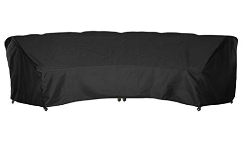 AMGJ Outdoor Sectional Couch Covers, 210D Oxford Fabric Patio Curved Sectional Sofa Cover for Half-Moon Couch Garden Furniture Covers,Black,305x99x91cm