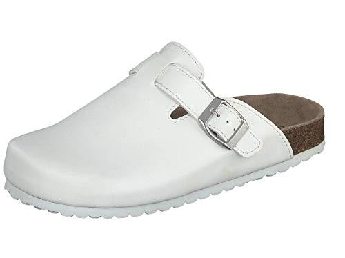 Supersoft Unisex Schuhe Arzt Clogs Pantoletten Hausschuhe Lederfußbett White (40 EU)