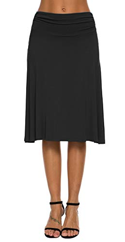 EXCHIC Falda de Yoga para Mujer con Mini Llamarada (S, Negro)