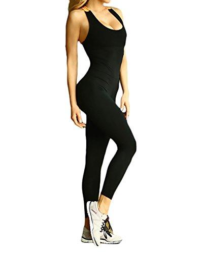 Mono Deportivo Mujer Largos Leggins Yoga Push Up Gimnasio Entrenamiento Backless Jumpsuit Slim Fit Sin Mangas Primavera Verano Elásticos Negro