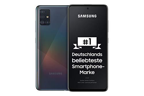Samsung Galaxy A51 Android Smartphone ohne Vertrag, 4 Kameras, 6,5 Zoll Super AMOLED Bildschirm, 128 GB/4 GB RAM, Dual SIM, Handy in schwarz, deutsche Version