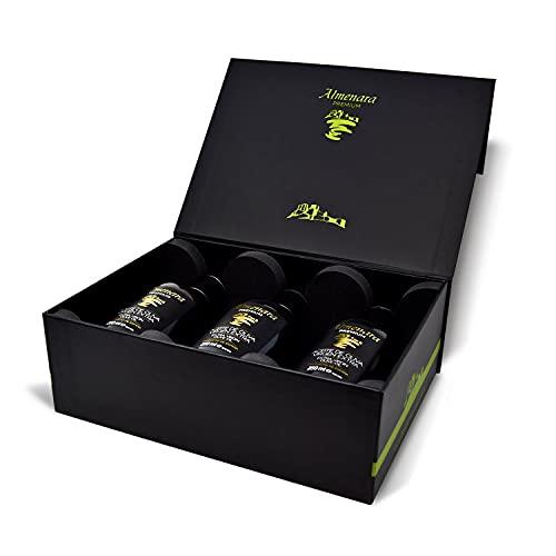 Almenara - Aceite de Oliva Virgen Extra Premium en Elegante Estuche en Botella de Cristal de 3 x 250 ML