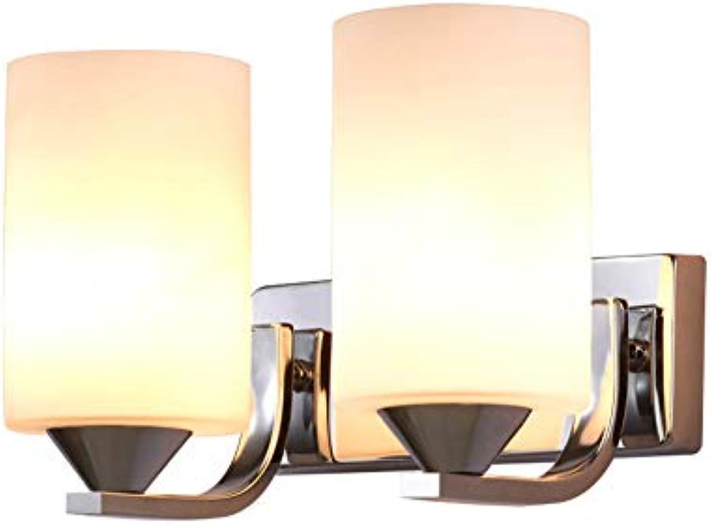 HoaLit Wandleuchte Waschen Innen,E27 Wandlicht Glas Klar 100% Metal Einfache Moderne Wandlampe Schlafzimmer Wohnzimmer Flur Nachttisch Leselicht-silber 2 Licht