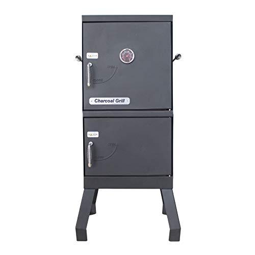 ALEKO Vertical Offset BBQ Charcoal Smoker with Temperature Gauge - Black