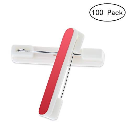 Alater Adhesive Pin Backs-100 Packs Adhesive Back Safety Bar Pins Badge Crafting Parts,1.5 Inch