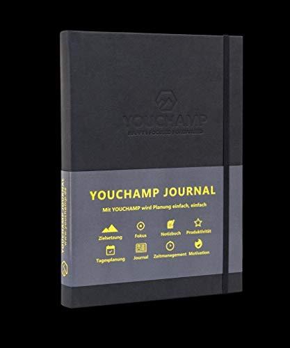 YOUCHAMP Selbstmanagement Journal, Verbessere dein Zeit- und Selbstmanagement und steigere deine Produktivität im Beruf und Alltag (Schwarz)