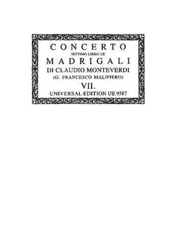Monteverdi, Claudio: Il settimo libro de madrigali : a 1, 2, 3, 4 e 6 voci Partitur (it)