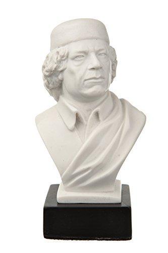 "danila-souvenirs jamahiriya revolucionario Coronel Muammar Gadafi mármol Busto Estatua Escultura 4.7""Color Blanco"