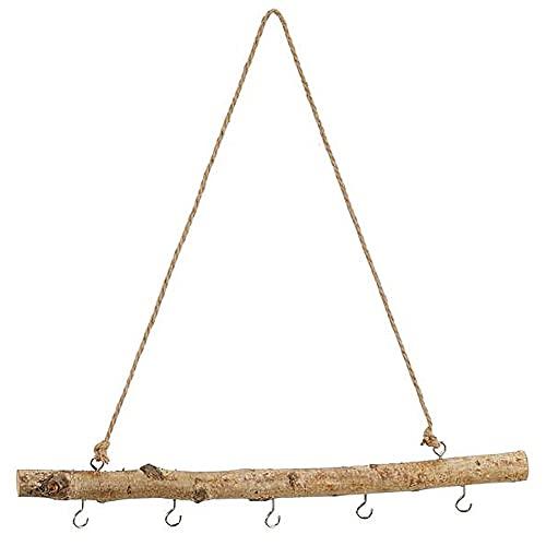 MACOSA CP52308 Deko-AST Birkenholz mit Haken zum hängen Hängeast Holzstange Fensterdeko Holz-Hänger Hängezweig Hängedeko Landhaus Zweig Dekohänger