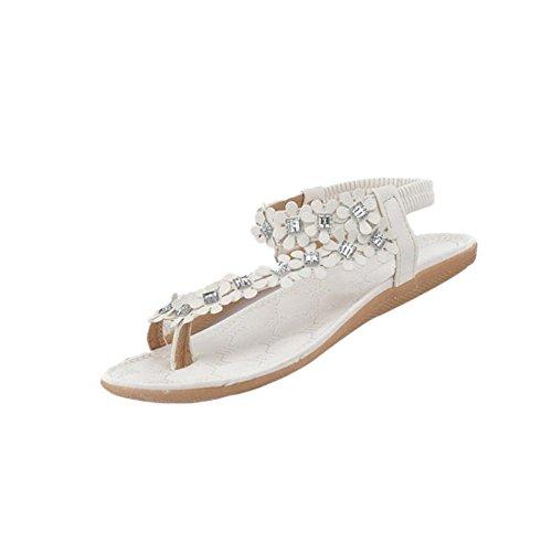 Fortan Damen Sommer-Böhmen-Blumen-Kristall Flip-Flop-Schuhe Flache Sandalen (EU=36, Weiss)