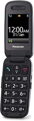 Panasonic KX-TU446EXB Teléfono Móvil Para Personas Mayores (Resistente a Golpes, Cámara, Incluye Auriculares y Cargador, Indicador LED)- Granate