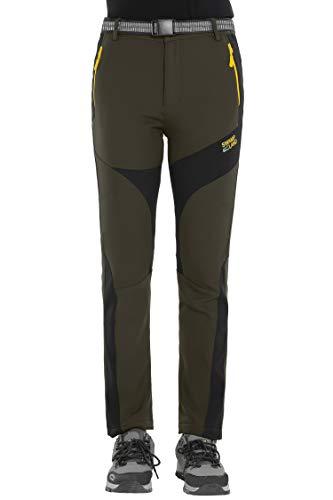 HAINES Damen Softshellhose wasserdichte Wanderhose Trekkinghose Winter Outdoor Funktionshose,Armeegrün,Gr.-EU-M/Asia-XL