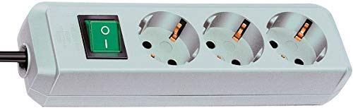 Brennenstuhl Eco-Line regleta de enchufes con 3 tomas de corriente (cable de 1.5 m, interruptor) gris