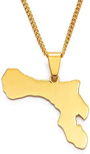 JSYHXYK Collar Bonaire Map Collares Pendientes Acero Inoxidable Y Joyas De Color Dorado 60Cm