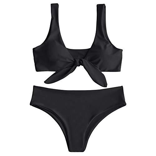 ZAFUL Damen Sexy Krawattenknoten vorne Bowknot Bikini Badeanzug mit hoher Taille (M, SCHWARZ)