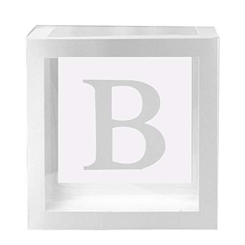ECOSWAY 1Pc Transparente Cuadrado Caja de Cartón Globo Caja para Baby Shower Bautizo Cumpleaños Decoración Fiesta - B