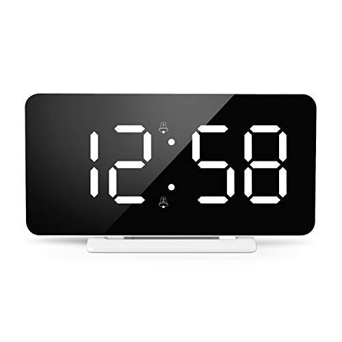 Edillas Reloj Despertador Digital,LED Alarma Doble de Superficie de Espejo con Función de Repetición y 3 Niveles de Brillo Puerto de Cargador USB Ajustable Despertador para Dormitorio