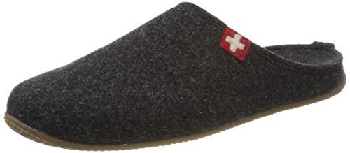 Living Kitzbühel Unisex-Erwachsene Pantoffel Schweizer Kreuz mit Fußbett Pantoffeln,Grau (Anthra 600), 41 EU