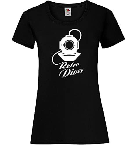 shirt84.de - Camiseta de manga corta para mujer con casco de buceo Negro M