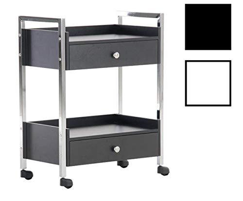 CLP Transportwagen mit 2 Schubladen I Arbeitswagen für den professionellen Einsatz I Allzweckwagen mit Holzschubladen Schwarz