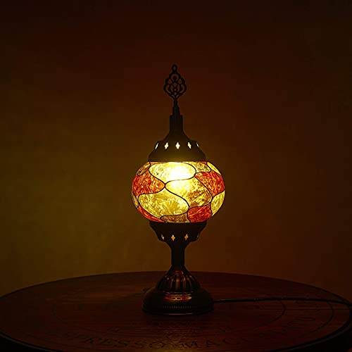 Lámpara de escritorio, lámparas de mesa marroquíes de Turquía, lámpara de escritorio de mosaico con pantalla y cuerpo de vidrio, luz de noche retro para dormitorio para sala de estar, restaurante, E